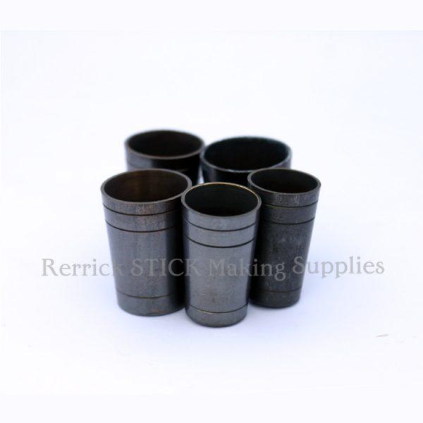 5 Walking Stick Ferrules Brass Ultra 15mm - 19.5mm