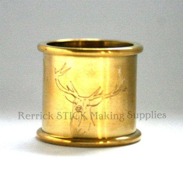 Beaded Brass Collar 23mm With Stag Engraved