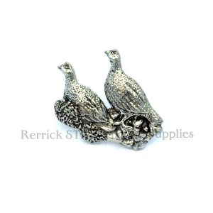 Pin Badge Pewter Brace of Grouse