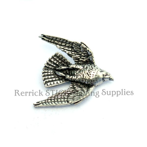 Pin Badge Pewter Falcon Swooping