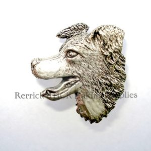 Pin Badge Pewter Border Collie Head