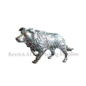 Pin Badge Pewter Border Collie