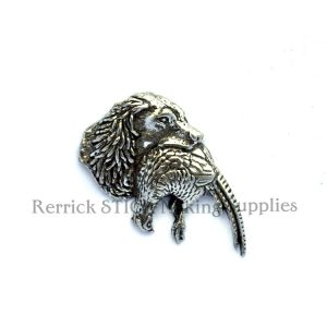 Pin Badge Pewter Spaniel with Phesant in Mouth