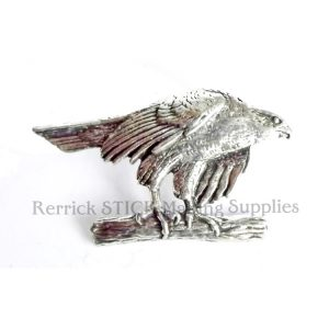 Pin Badge Pewter Hawk Perched On Branch