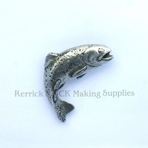 Pin Badge Pewter Leaping Trout