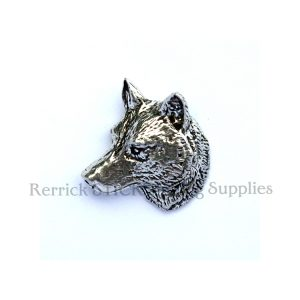Pin Badge Pewter Wolf Head